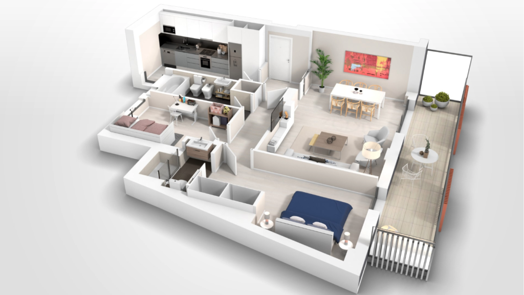 apartment 3d plan