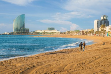 What are the best beaches in Barcelona? View of one of the best beaches in Barcelona.